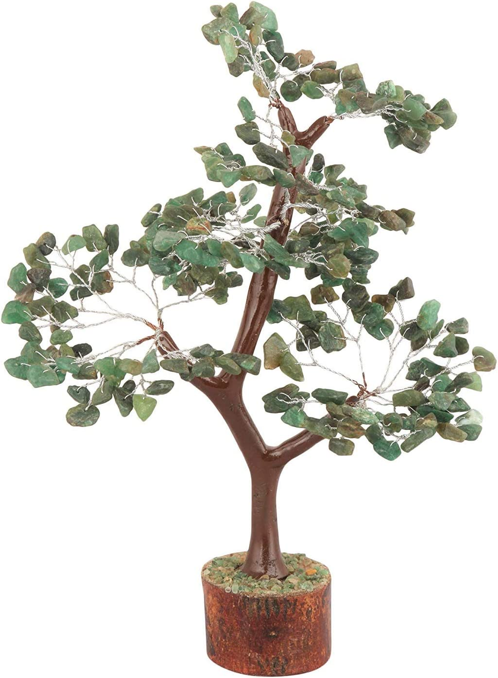 ZAICUS Gemstone Money Tree Feng Shui Bonsai for Reiki Healing Stone Chakra Balancing Aura Cleansing Good Luck Energy Generator Spiritual Gift Home Office Table Decor (Green Aventurine Silver Wire)