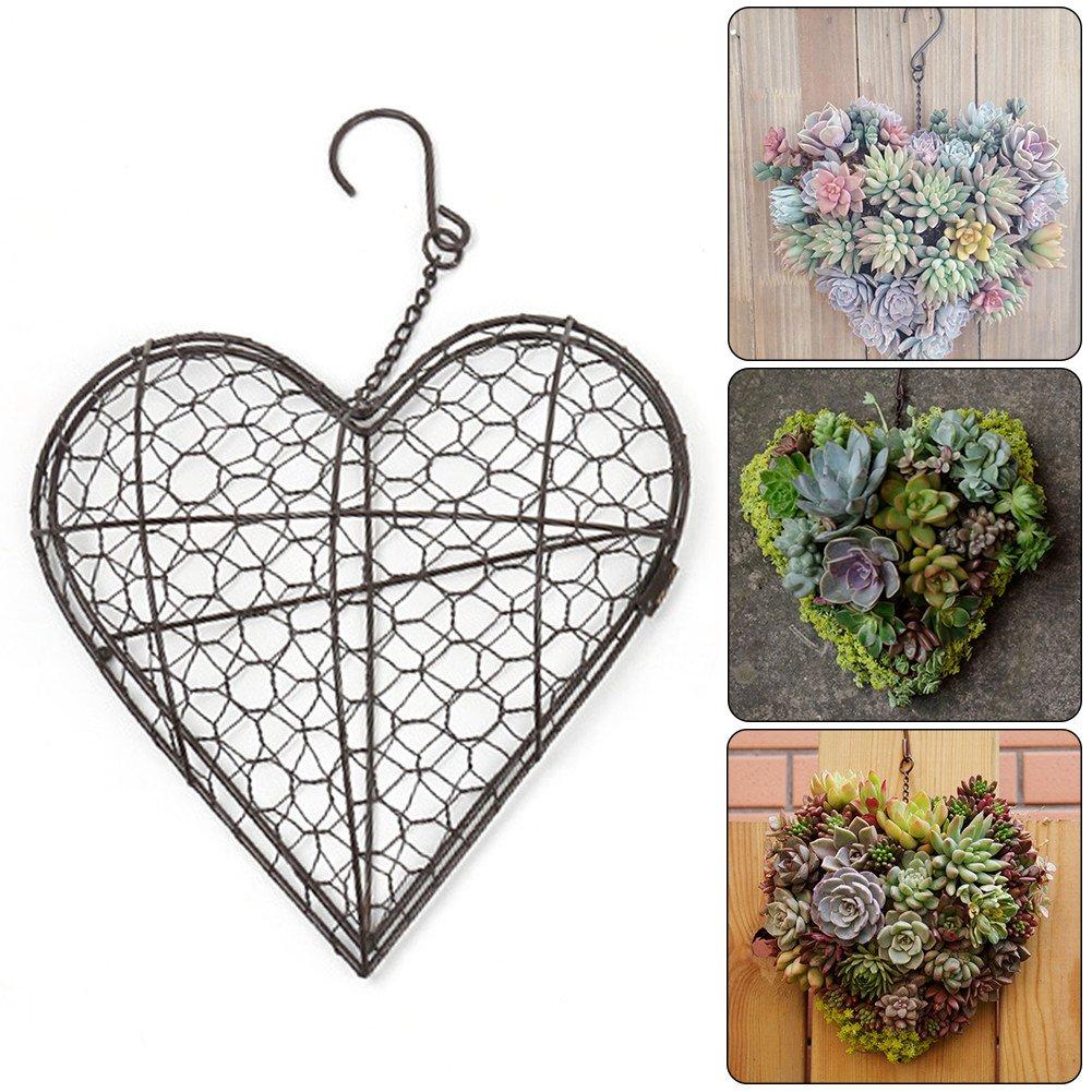 Heart Shape Metal Hanging Plants Basket Succulent Herb Flower Pot Planter Plant Basket