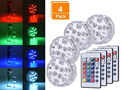 Led Lamps Led Underwater Lights Rgb Submersible Round Candle Light For Outdoor Indoor Fountain Pond Swimming Pool Lights