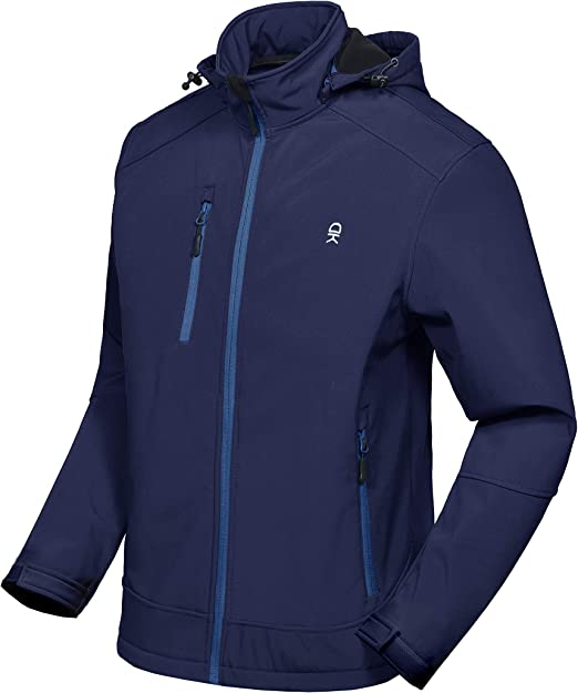 Little Donkey Andy Men/'s Softshell Jacket with Removable Hood Fleece Lined and Water Repellent