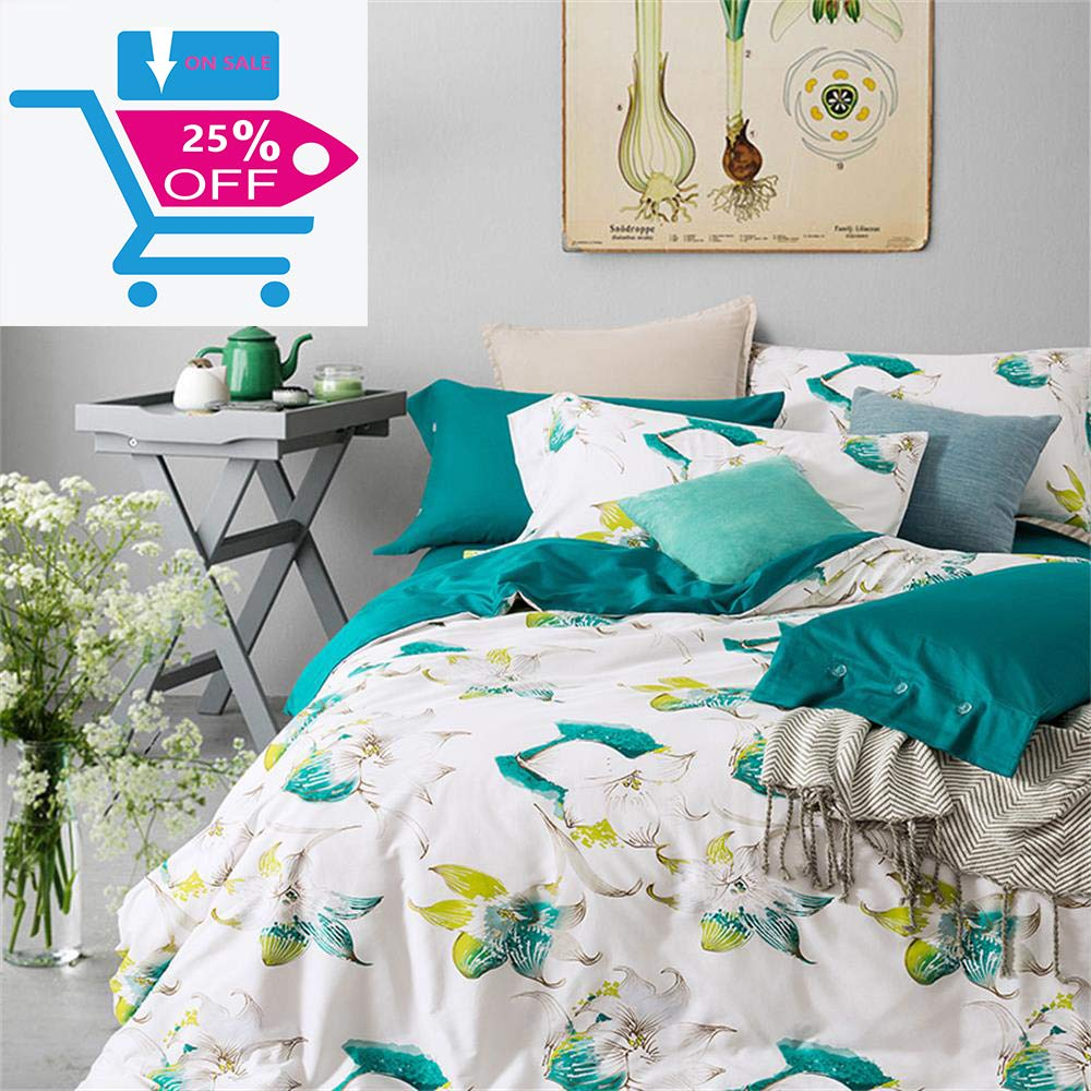 Brandream Floral Duvet Cover Set Full Size Girls Bedding Cotton Watercolor College Bedding Teal