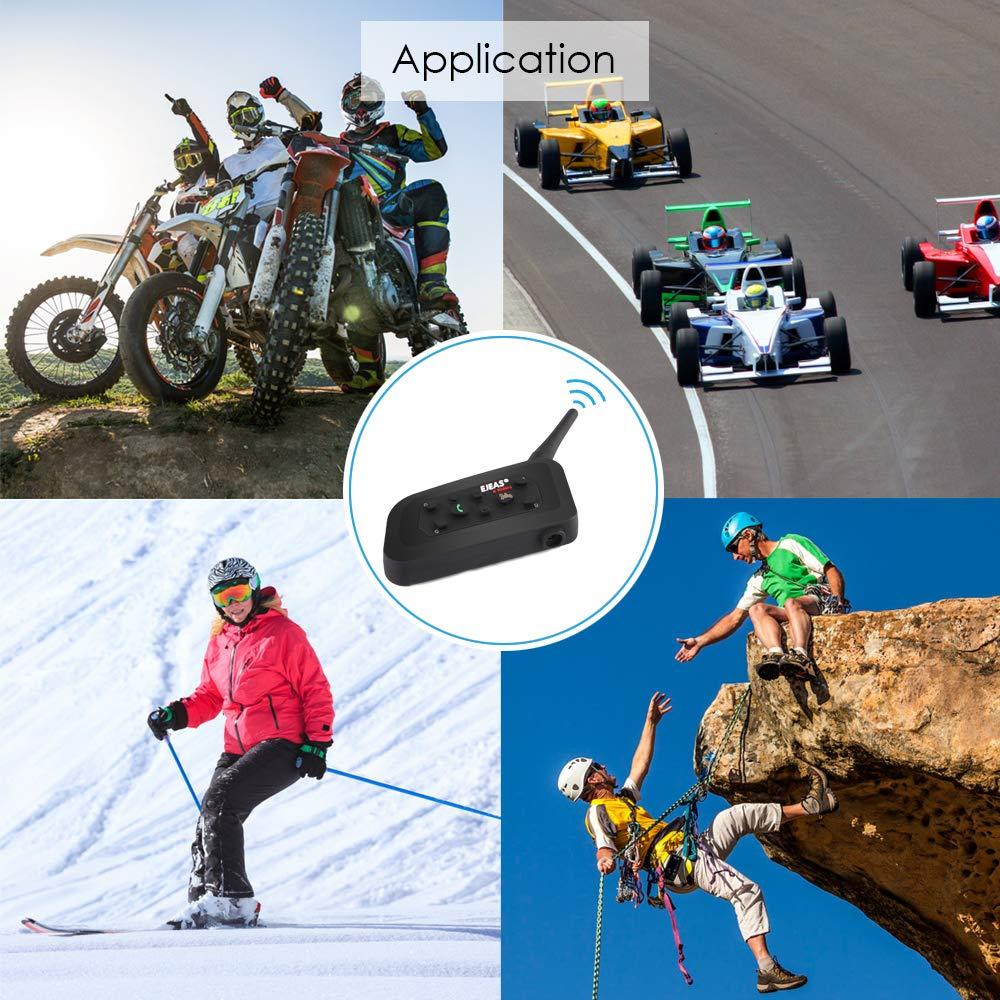 Helmet Bluetooth Intercom Kit Bluetooth Intercom Helmet Headset 1200m Motorcycle Headphone Waterproof for 6 Riders Waterproof 2 Pack