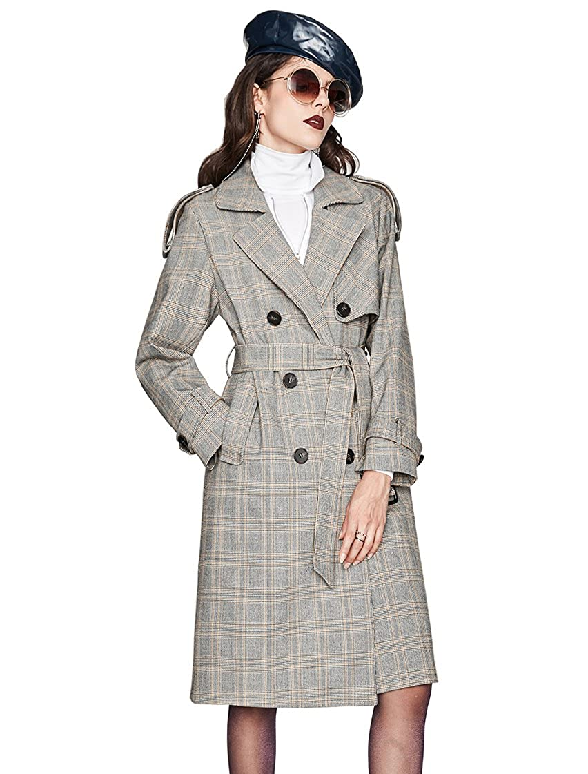 Murfhee Women's Vintage Plaid Double Breasted Trench Coat Long