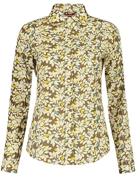 Dioufond Camisa de Mujer Manga Larga de Algodón Hojas Patrón Botón Abajo Blusa Delgada con Cuello