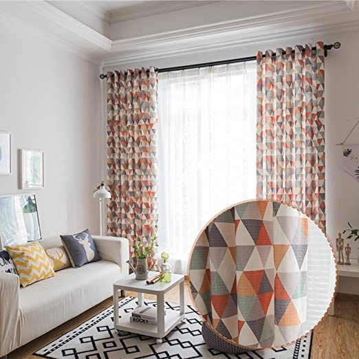 100 x 280 cm para sal/ón o Dormitorio Cortina Opaca de algod/ón con impresi/ón Triangular Sue Supply