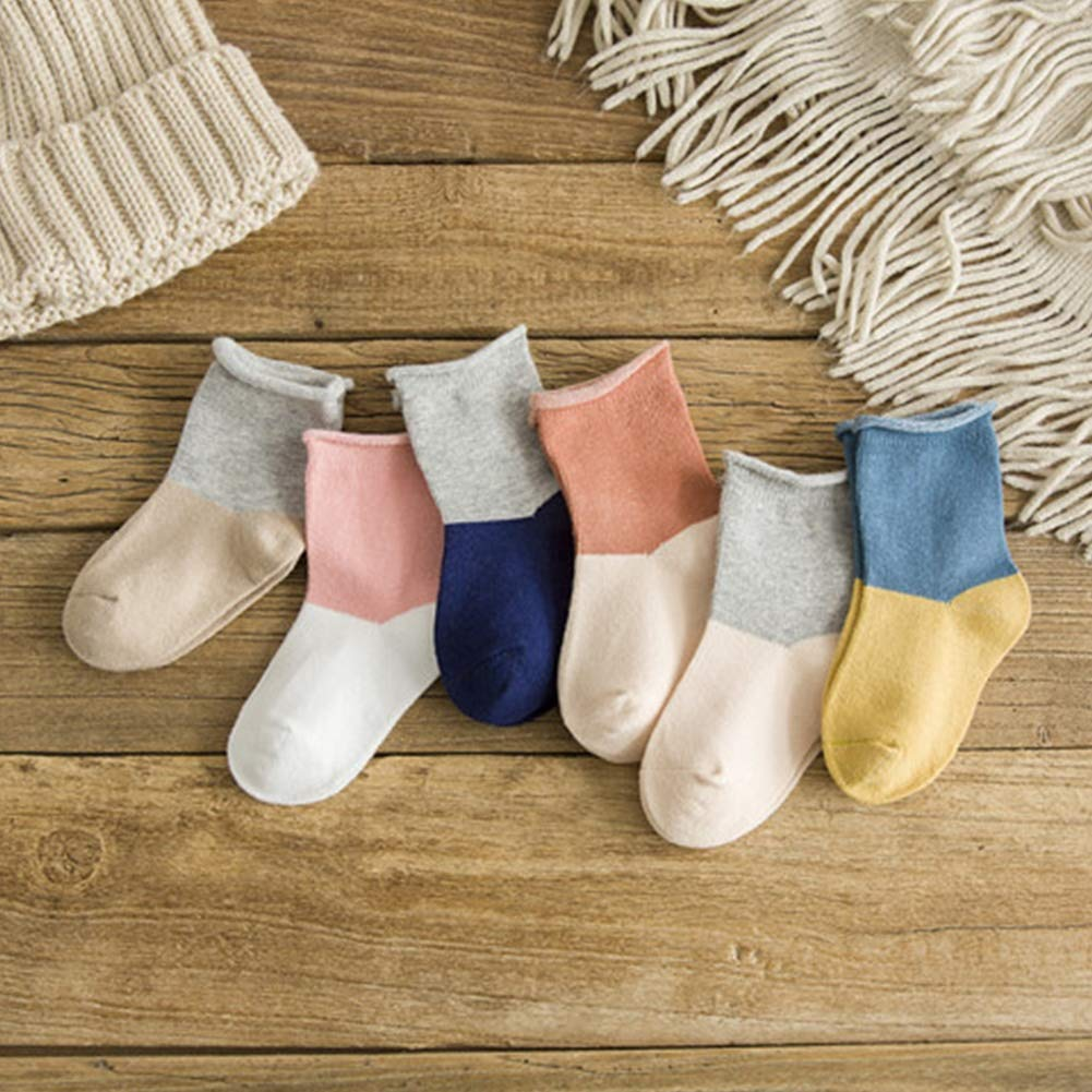 6 Pairs Toddler Infant Baby Boys Girls Socks Cotton Contrast Color Warm Crew Socks