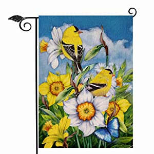 Hzppyz Spring Summer Yellow Birds Garden Flag Double Sided, Daffodil Flowers Decorative House Yard Lawn Outdoor Small Burlap Flag Butterfly Decor Farmhouse Seasonal Outside Welcome Decorations 12 x 18