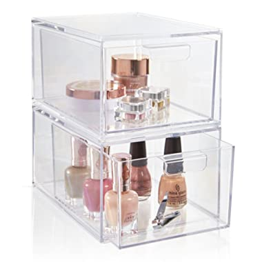 Set of 2 Premium Quality Stackable Cosmetic Storage and Makeup Palette Organizer Drawers   Audrey Collection