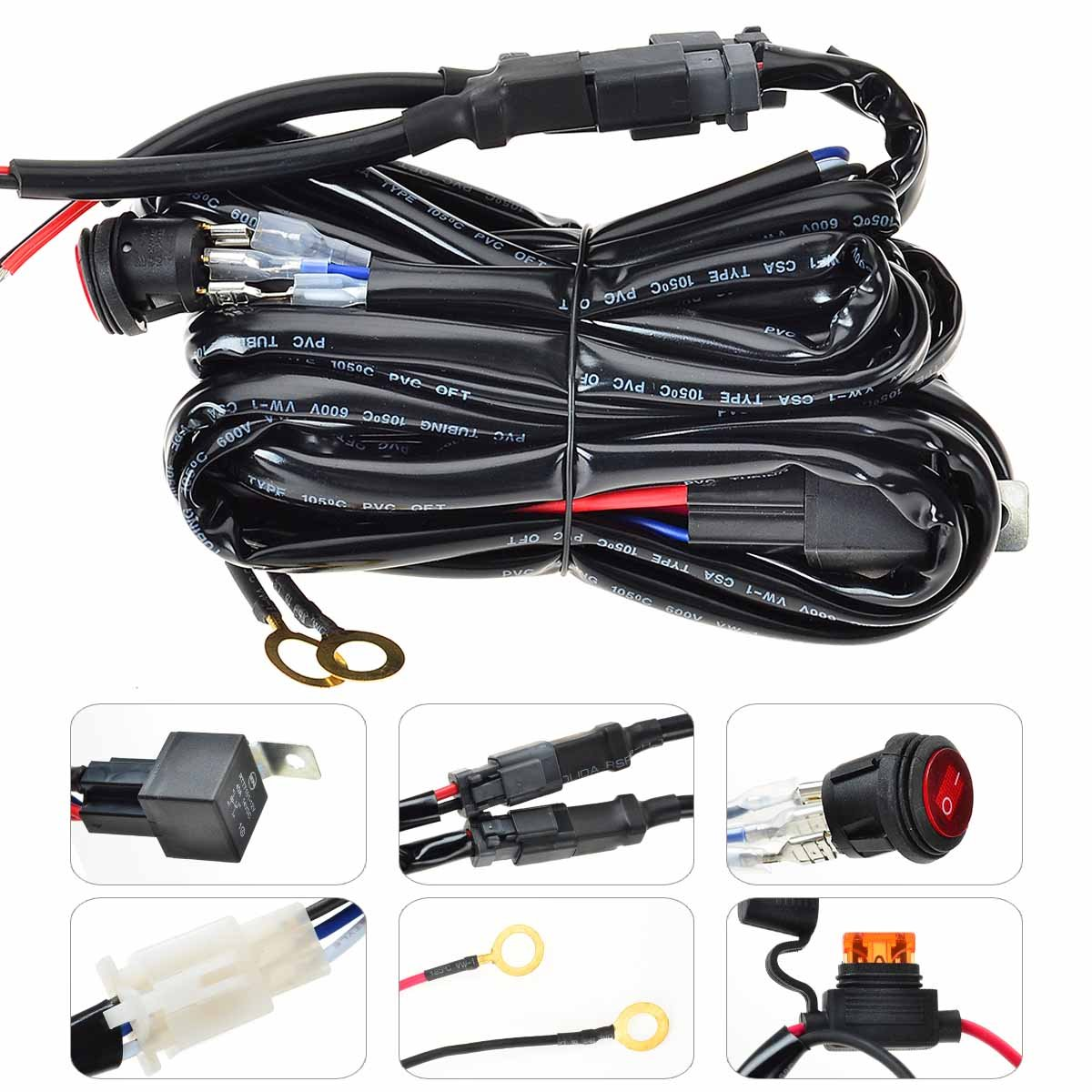 1 Lead 9ft Kawell LED Wiring Harness Include Switch Kit Suppot 300W LED Light Bar Wiring Harness and On//Off Waterproof Switch