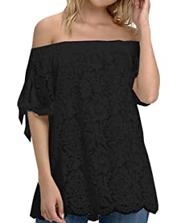 3f3b5ddad StyleDome Women Off Shoulder Tops Sexy Lace Crochet Blouse Casual Tie Short  Sleeve T-Shirt