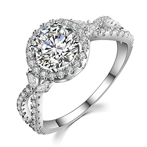"""6314434ab GuqiGuli """"Luxe Willow 1.25 Carat Sterling Silver Halo Cubic Zirconia Engagement  Rings for Women"""