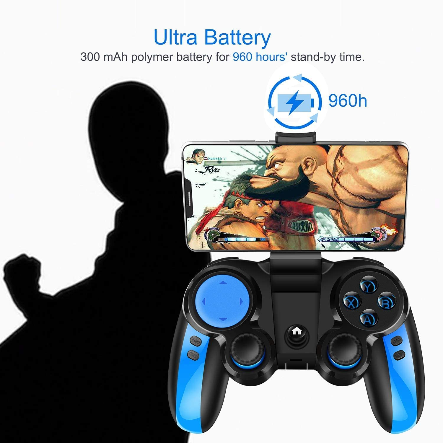 Wireless Gaming Controller Gamepad for Android iOS for Samsung Huawei iPhone with Retractable Bracket Support 4-6 inch Mobile Phones Mobile Game Controller