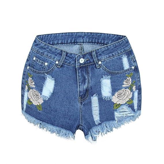 K-Youth® Pantalones Cortos de Mezclilla Bordados de Talle ...