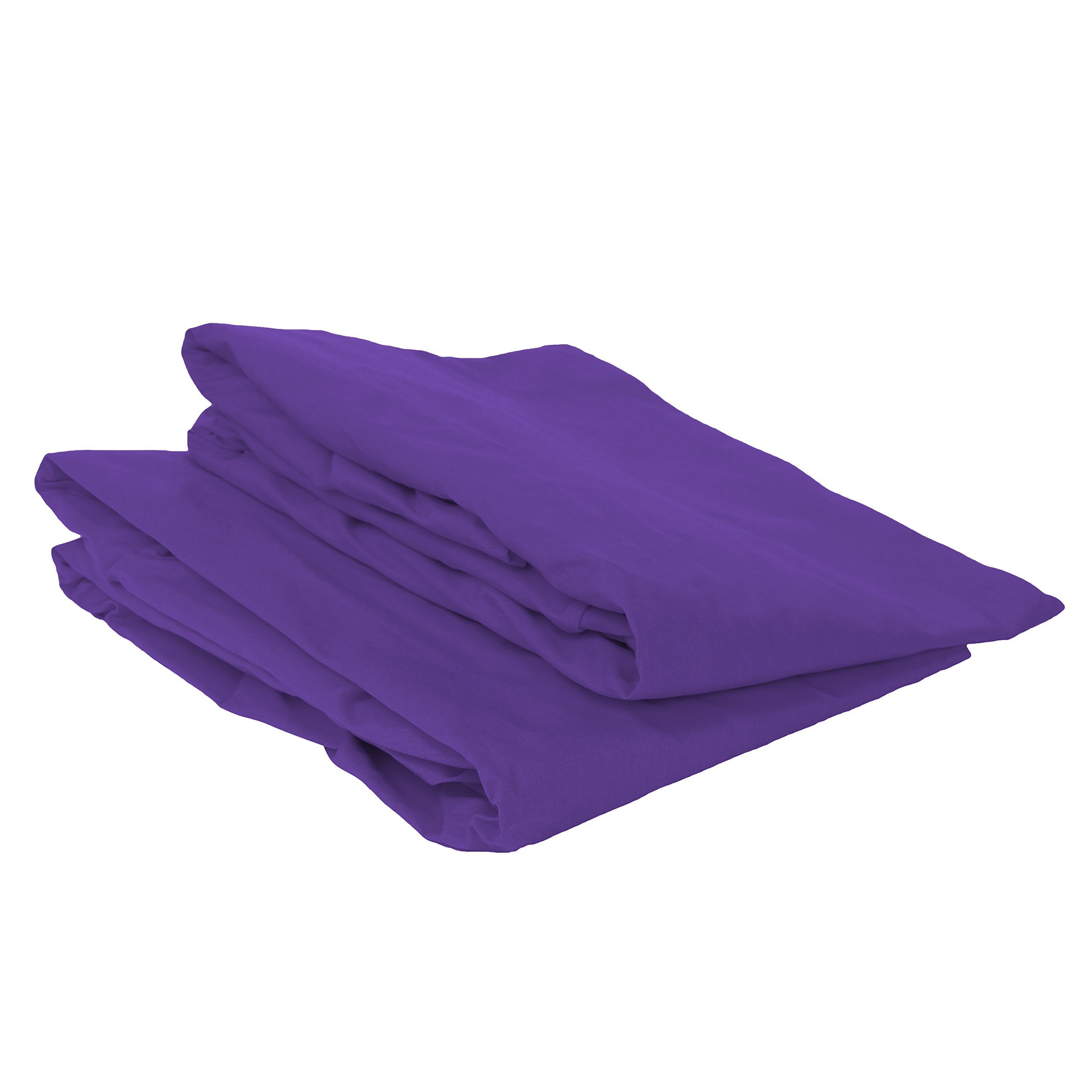 Bacati Mix and Match Solid Crib Fitted Sheet, Purple, 2 Count