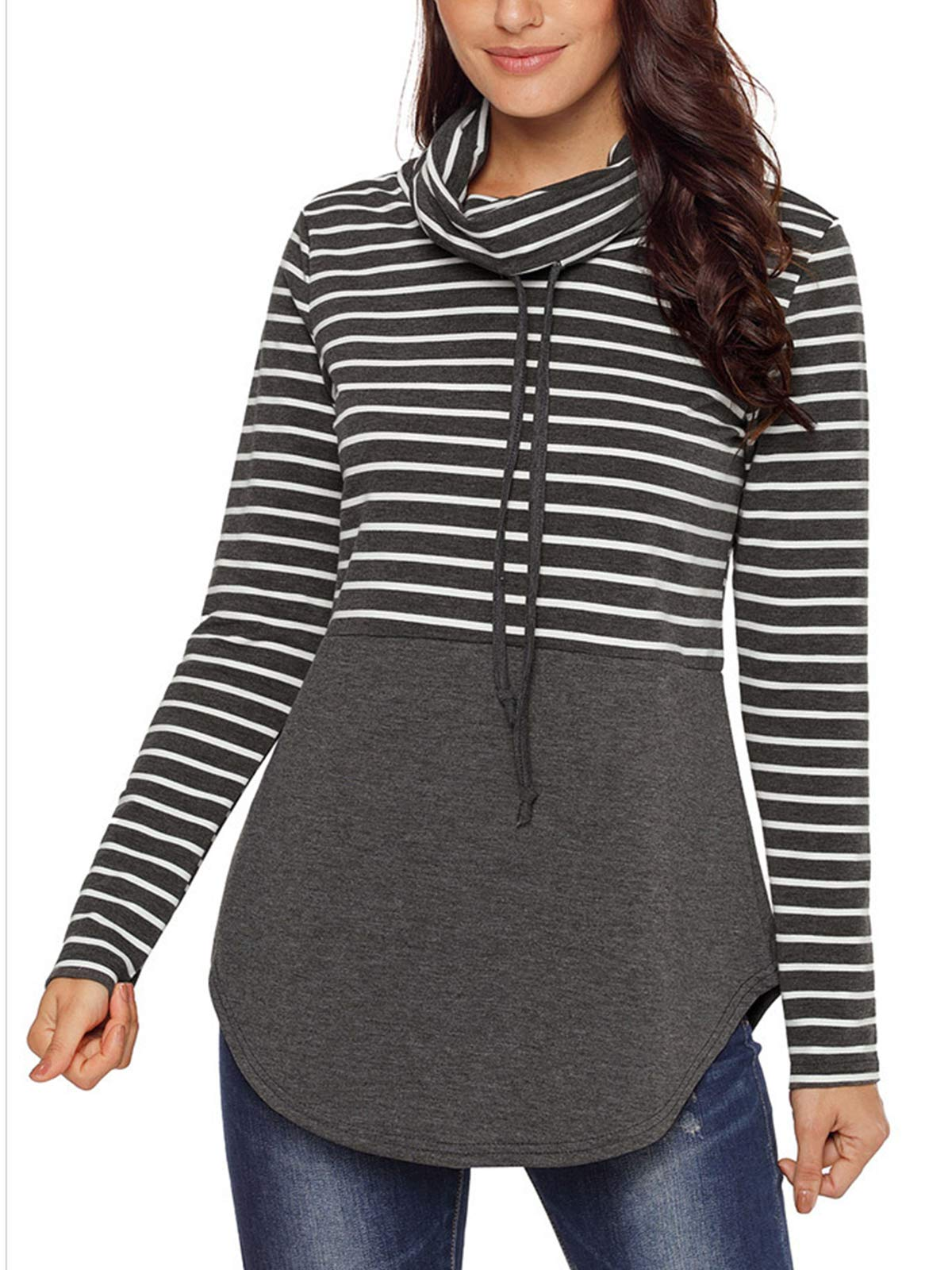 GARYOB Women's Cowl Neck Hoodies Long Sleeve Sweatshirts Color Block Drawstring Tops Lightweight Casual Pullover