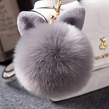 Soft Large White Black Faux Fur Ball PomPom Crystal Rhinestone Decor Animal Bear Metal Ring Chain Holder Handbag Bag Wallet Zipper Charm New