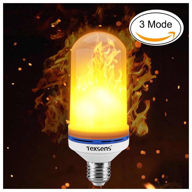 Texsens LED Flame Effect Light Bulb, 3 Mode E26 LED Flickering Flame Light Bulbs, 105pcs 2835 LED Beads Simulated Decorative Light Atmosphere Lighting Vintage Flaming Light Bulb for Bar/Festival Decoration