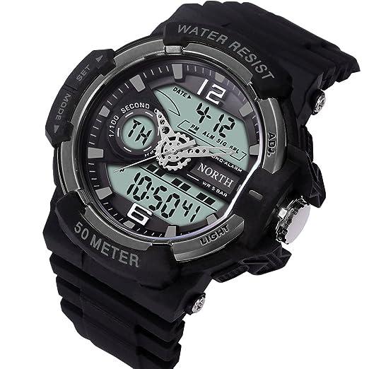 Para hombre de los relojes digitales, 2017 LED multifunción reloj deportivo para hombres, 50 m impermeable militar reloj de pulsera: Amazon.es: Relojes