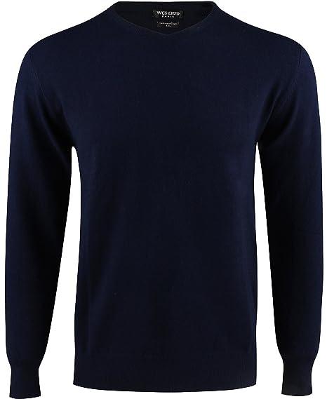 Yves Enzo - Pull col V - Homme - Bleu  Amazon.fr  Vêtements et ... f572ec53abc4