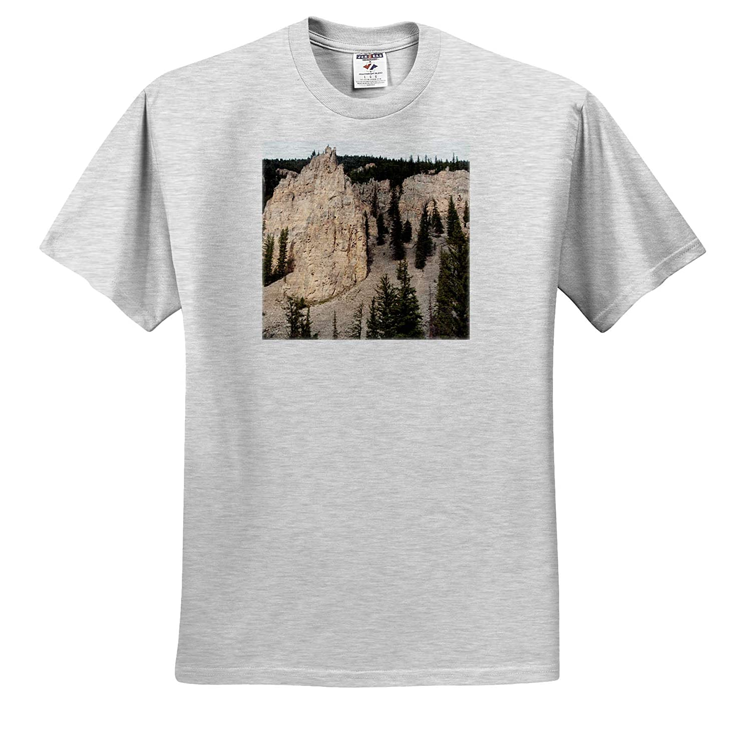 A White Hill with Green Trees in Yellowstone National Park 3dRose Jos Fauxtographee Yellowstone Scenery White T-Shirts