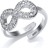 Jewelco London Rhodium Plated Sterling Silver Round Brilliant Cubic Zirconia Infinity Ring