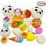 JPSOR 15 Pcs Slow Rising Squishy Charms, 1.6-3.9inch, for Mobile Phone and Wallet Ornaments, Random Delivery