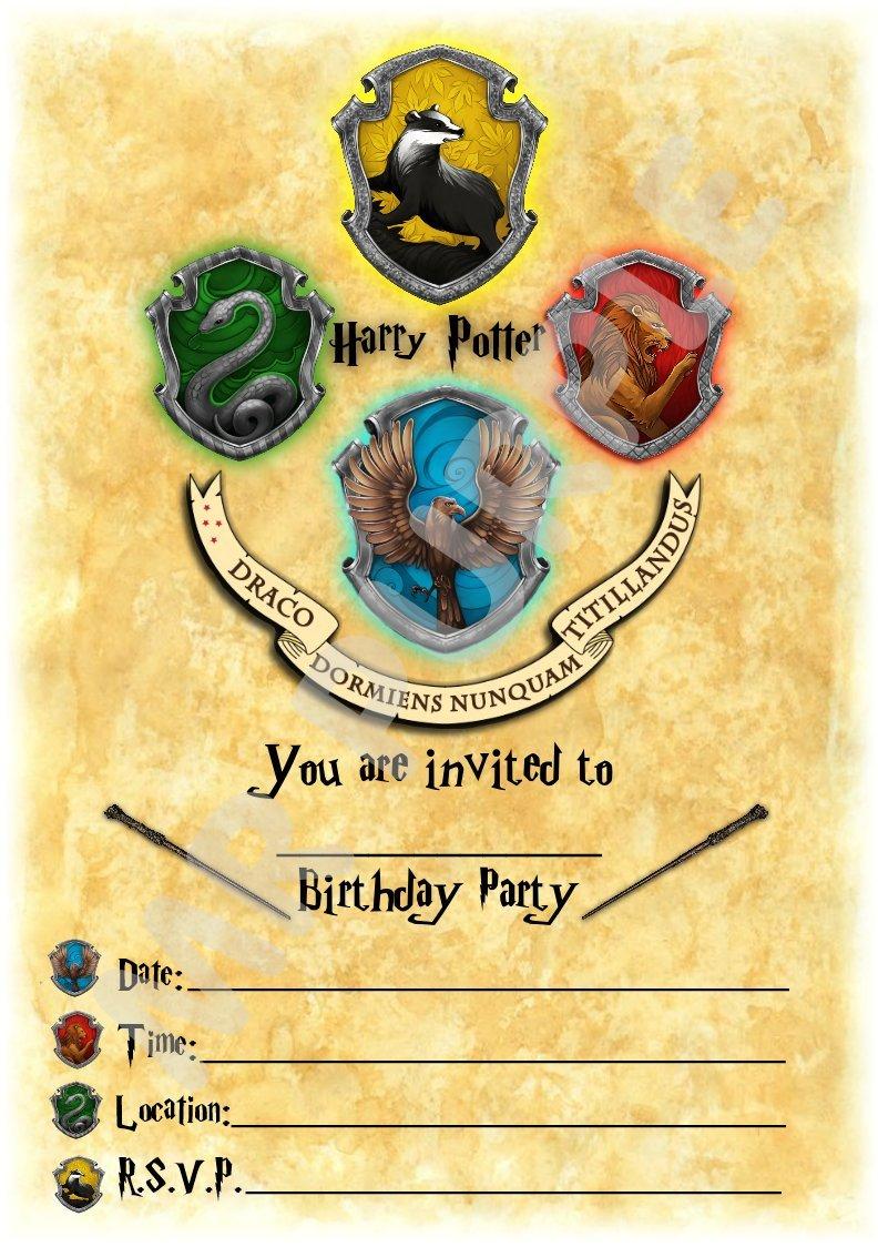 Harry Potter fiesta de cumpleaños invitaciones – vertical de Hogwarts Crest tema partido suministros/accesorios (Pack de 12 invitaciones A5) WITHOUT ...