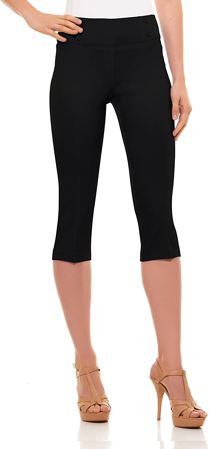 Velucci Womens Classic Fit Capri Pants - Pull On Style Capris with Detailed Design