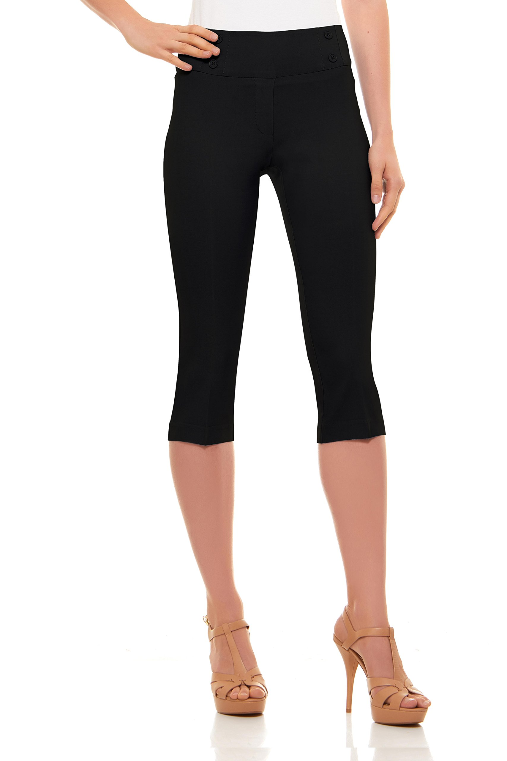 Womens Classic Fit Capri Pants-Pull On Style with Detailed Design, Velucci,Black,Small