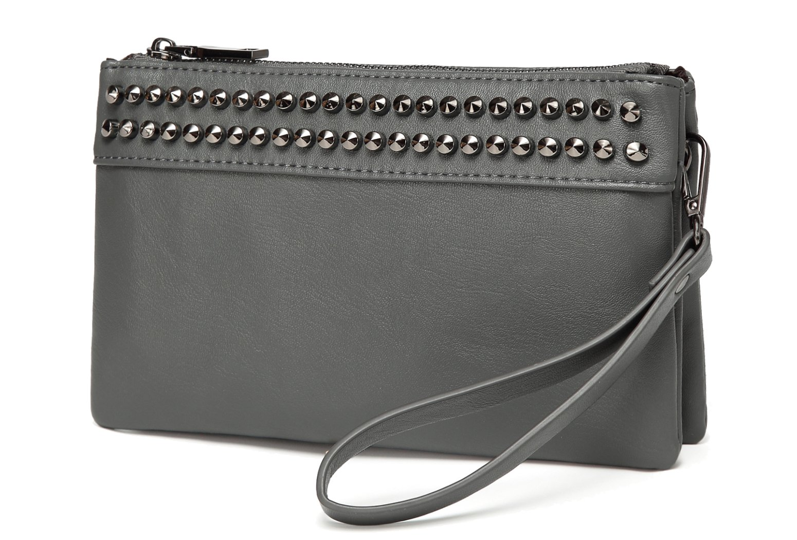 Wristlet Clutch Purses,VASCHY SAC Large Studs Soft Faux Leather Crossbody Evening Clutch Wallet for Women Gray
