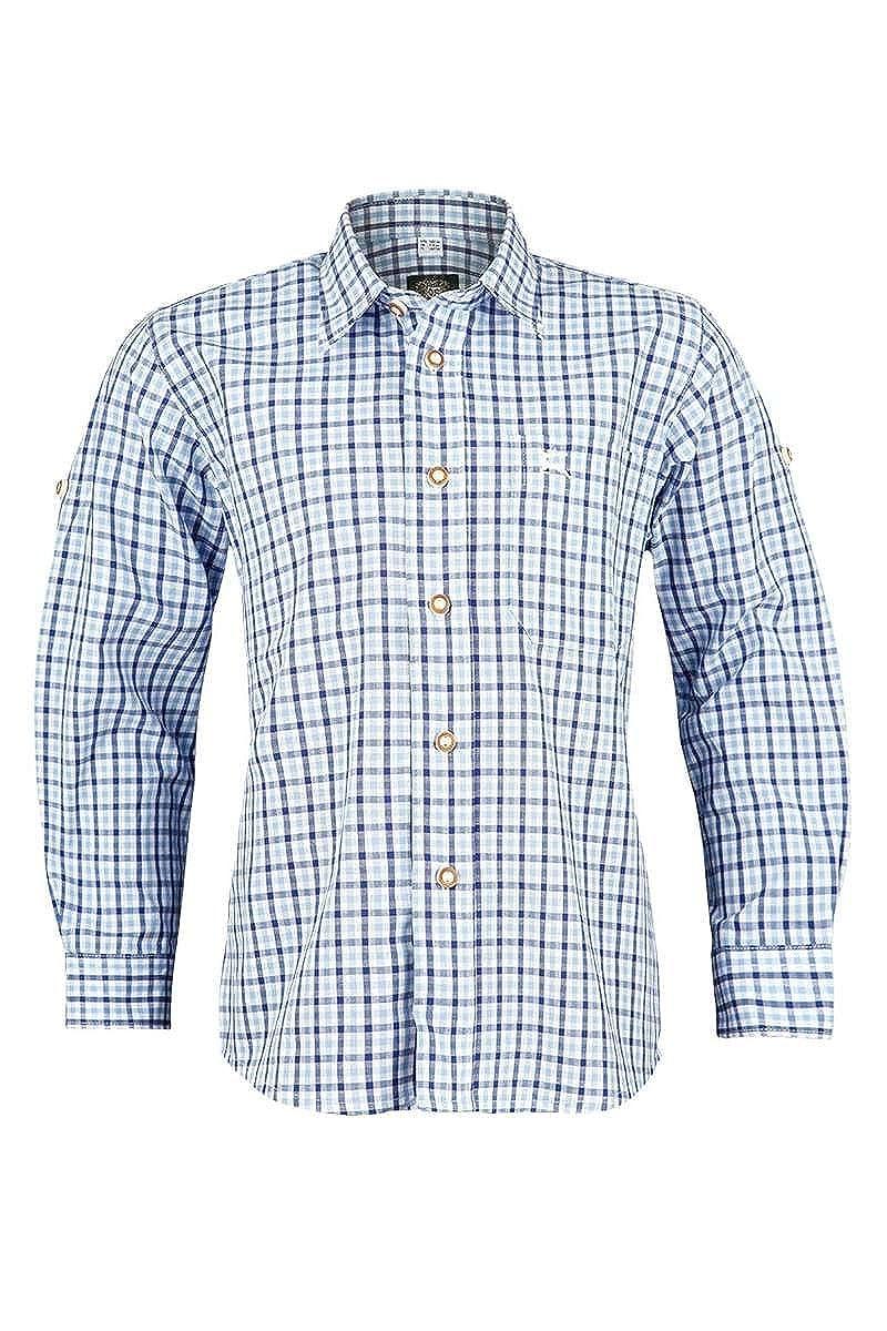 OS Trachten Jungen Kinder Trachten-Hemd mit Krempelärmel Blau, 42-Blau, 380000-3170