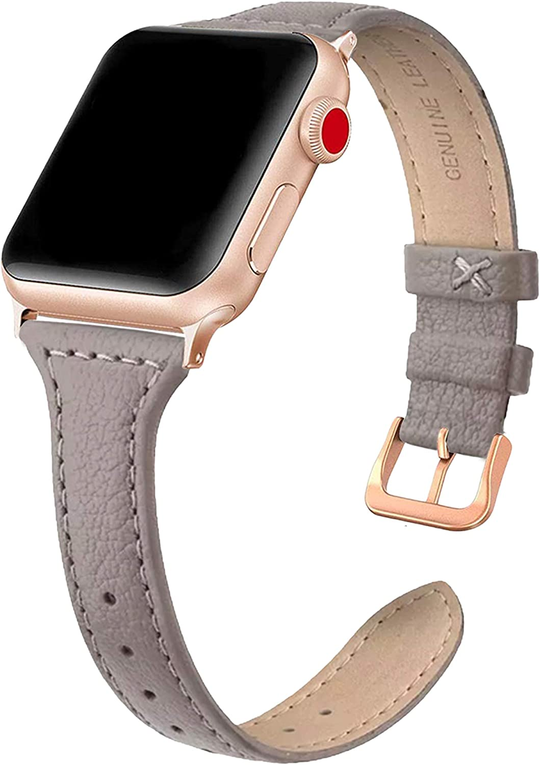 Leather Bands Compatible with Apple Watch 38mm 40mm 42mm 44mm, Slim Leather Band, Thin Watch Band, iWatch Series 5, 4, 3, 2, 1, Rose Gold Adaptor, by 1302 Watch Co. (Taupe, 38mm/40mm)