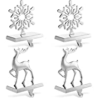 4 Set Stocking Holders for Mantle Christmas Stocking Holder with Hook Fireplace Stocking Hangers for Mantel Metal Xmas…