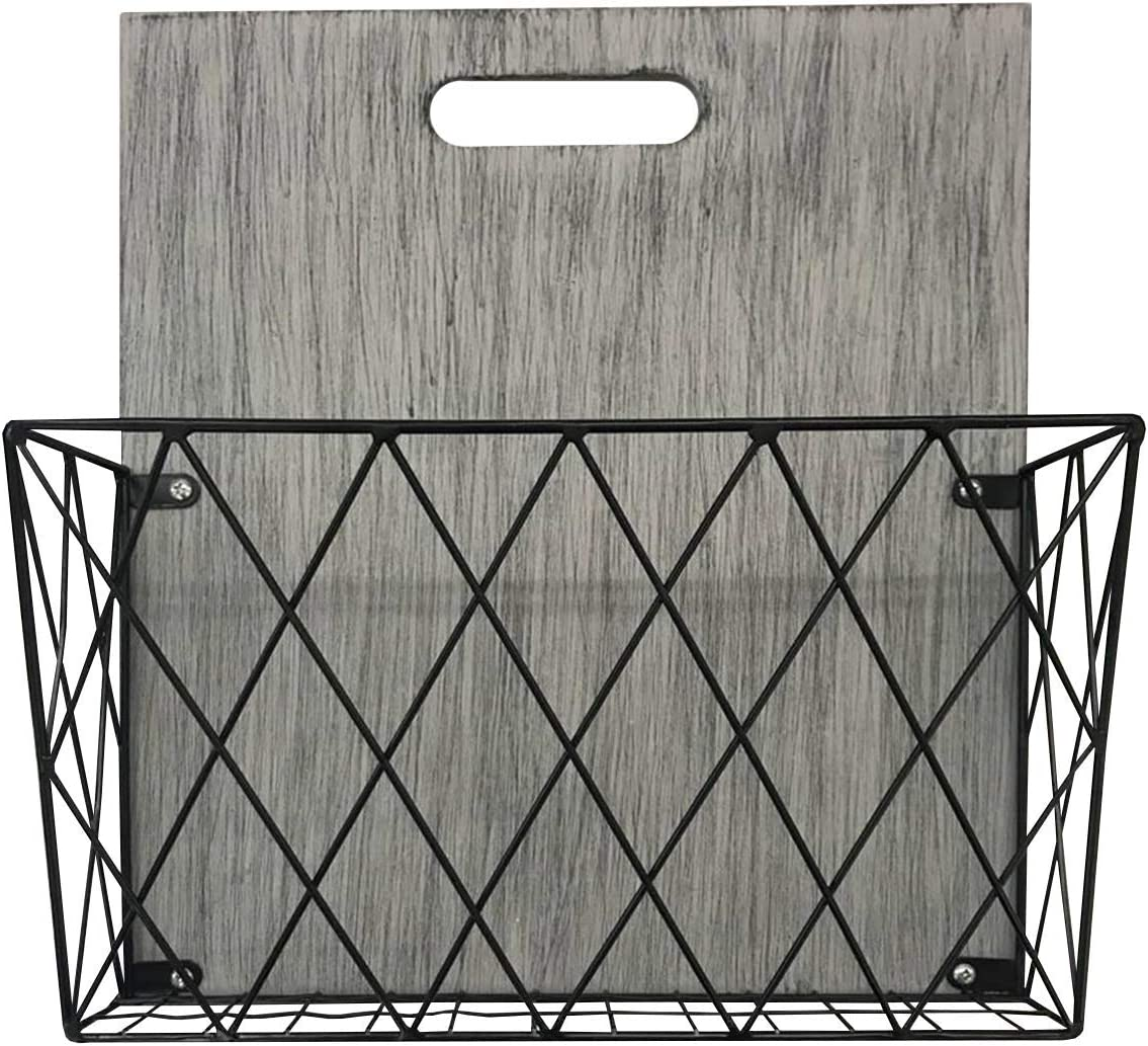 Convertible Over The Door or Wall Mount Single Pocket File Holder for Home, Office, Mail. Storage & Organization w/Grey Wood and Wire Diagonal Details, Hardware Included 13x15