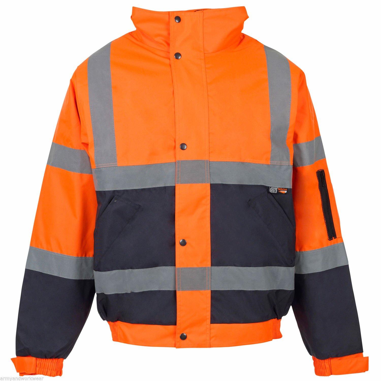 Mens Hi Viz Vis Security Work Contractors Jacket Waterproof Padded Hooded Safety Coat