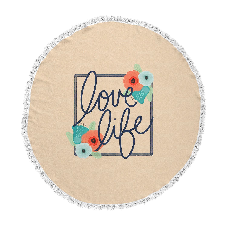 KESS InHouse Noonday Design Love Life Pastel Teal Digital Round Beach Towel Blanket