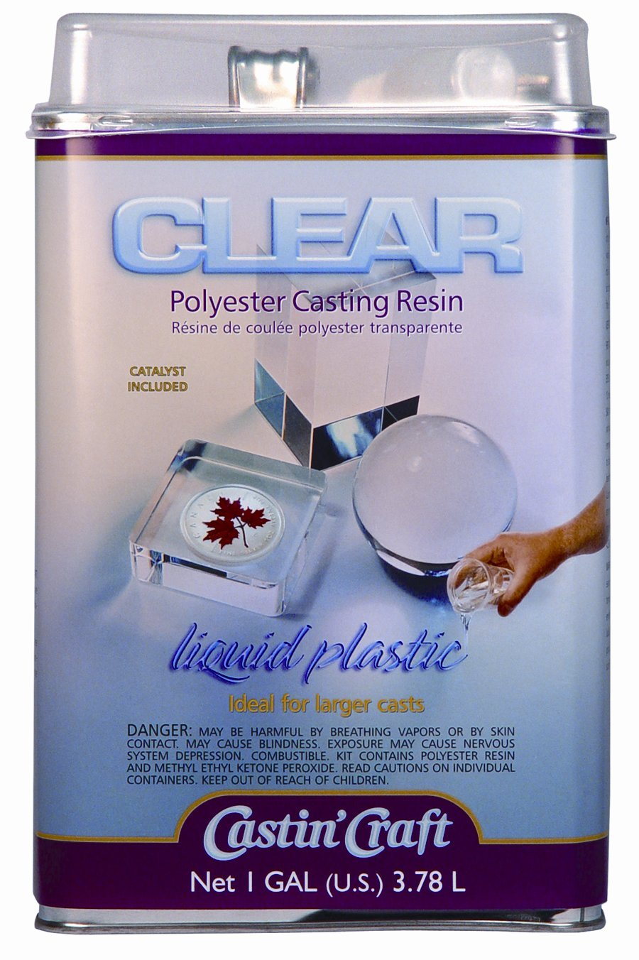 Environmental Technology 128-Ounce with 1/2-Ounce Catalyst Casting' Craft Polyester Casting Resin, Clear by Environmental Technology (Image #1)