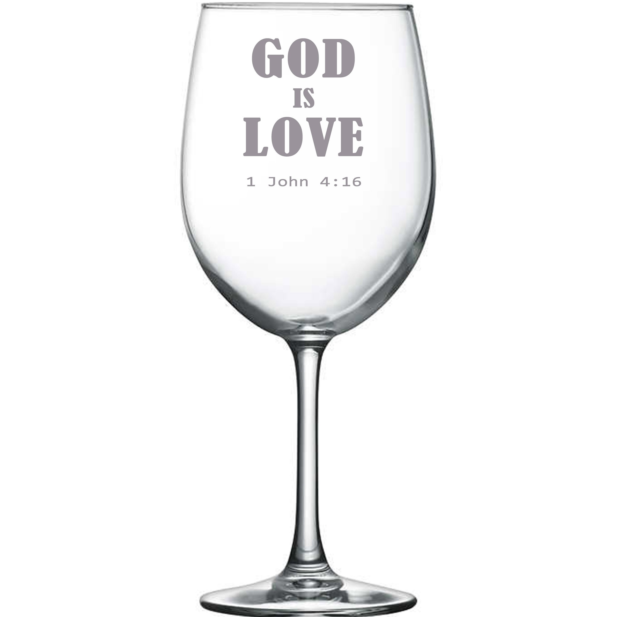 G211 God Is Love christian jesus church catholic religion christ 10.5 oz clear wine glass christmas gift present