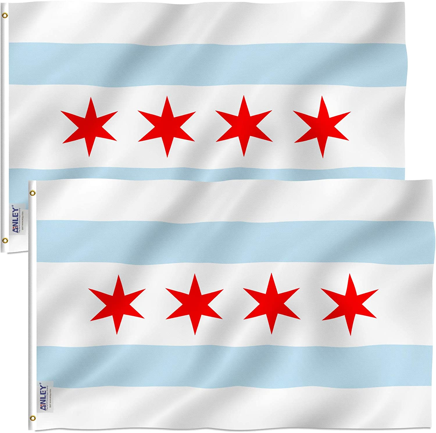Anley Pack of 2 Fly Breeze 3x5 Foot City of Chicago Flag - Vivid Color and Fade Proof - Canvas Header and Double Stitched - Chicago IL Flags Polyester with Brass Grommets 3 X 5 Ft
