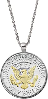 product image for Selectively Layered in Gold Presidential Seal Half Dollar Coin Silvertone Pendant Necklace