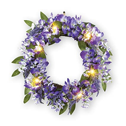 Collections Etc Wisteria Vine Spring Front Door Wreath With Lights