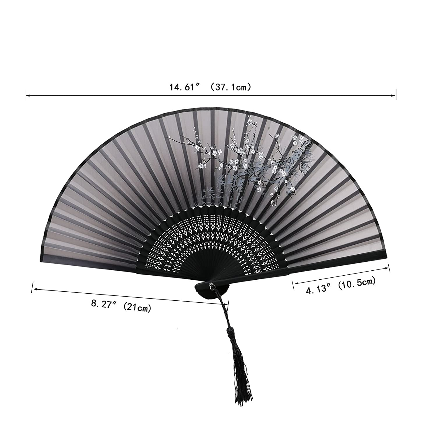 Black KAKOO Silk Folding Fan Chinese Style Plum Blossom Pattern Design Bamboo Hand Held Fans for Dancing Wedding Party Props Home Office Wall Decoration