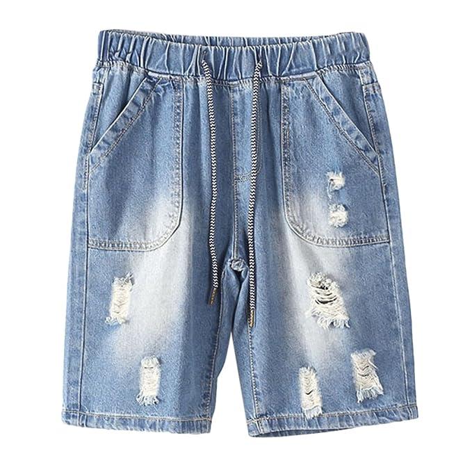 Pantalones Zhhlaixing Hombre Denim Vaquero Jeans Cortos 54jLAR