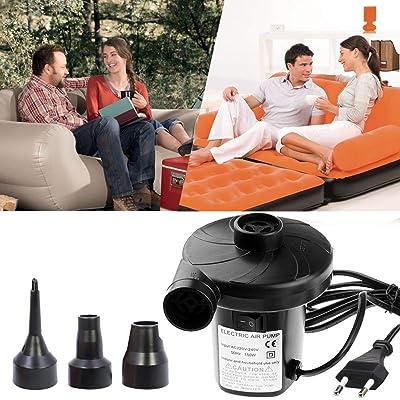 Lambony 150W Bomba de Aire Electrica Portatil, 2 en 1 Infla y Desinflama Adaptadores de Boquilla con 3 Accesorios, Usado para el Hogar de Vacaciones Camping Airbed, Niños Piscina y Juguetes