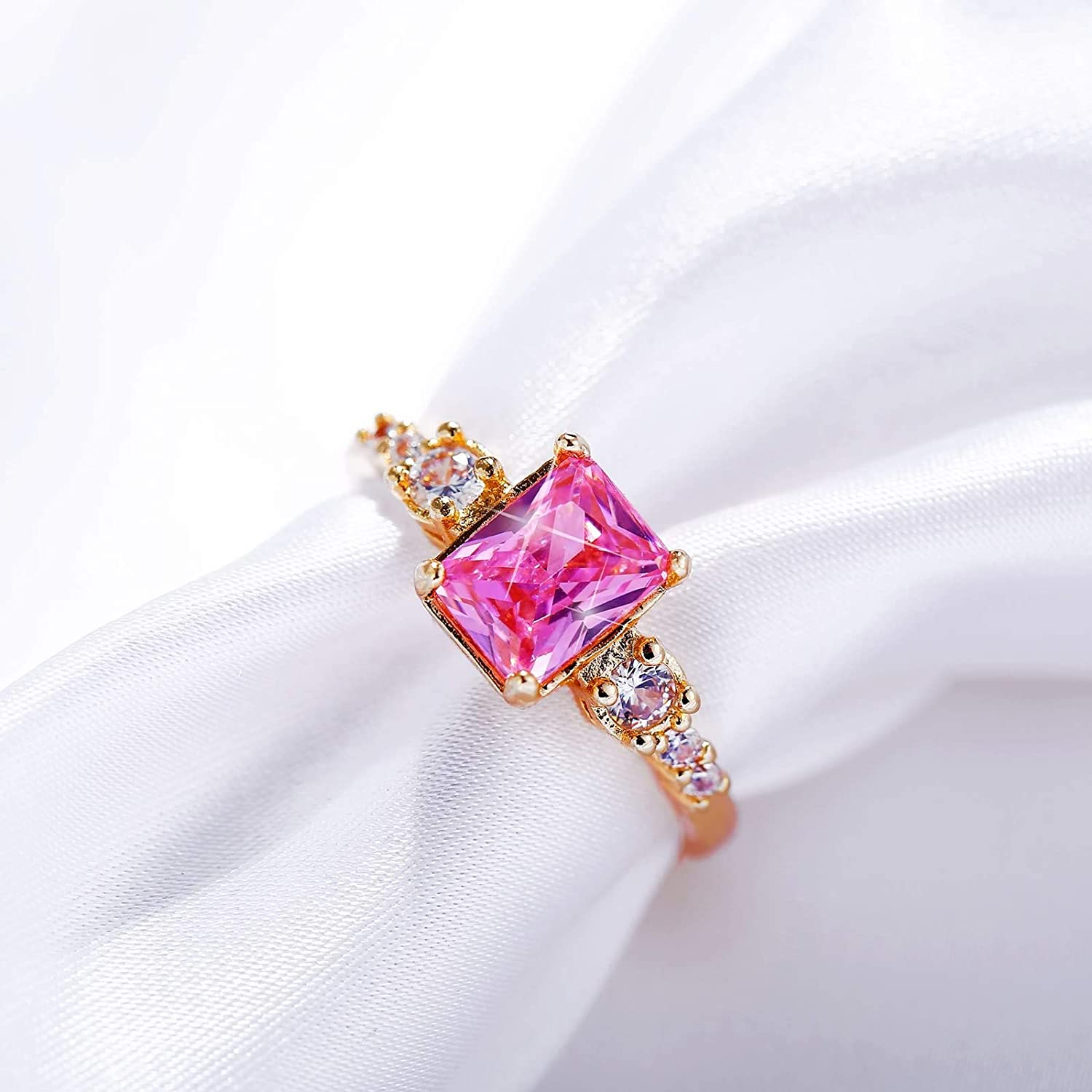 Aokarry Alloy Pink Cubic Zirconia Engagement Anniversary Ring for Women Gold Plated Size 7