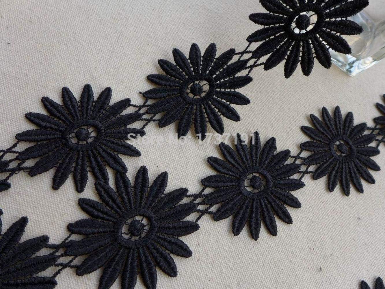 negro Gerbera Blume 5 Yards Black Venise Lace Trim joyas o Kost/ümdesign Gerbera Daisy Lace Applique