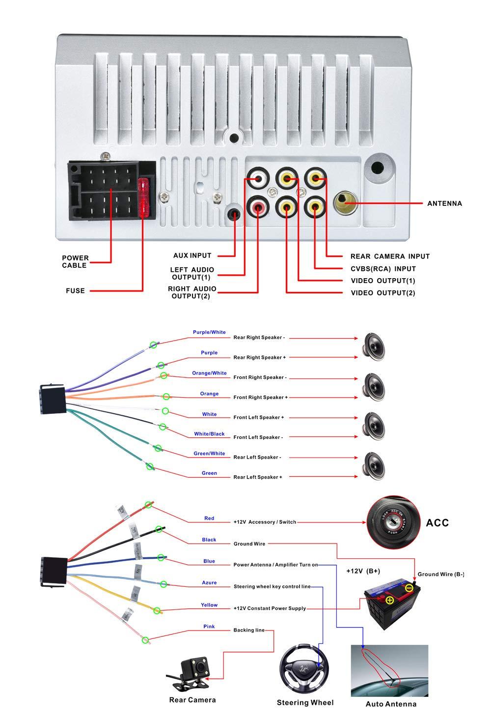 Republe Coche del veh/ículo 2 DIN Coche Reproductor MP5 Radio est/éreo de 7 Pulgadas de Pantalla t/áctil de Alta definici/ón con la c/ámara reversa del Espejo Enlace