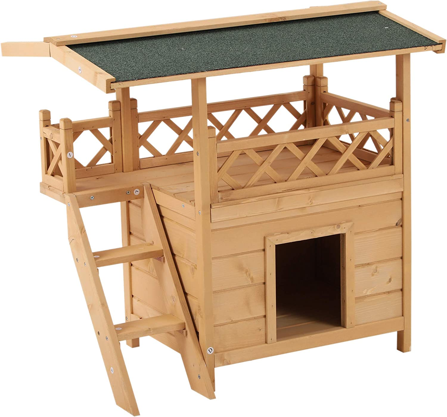 Pawhut 2 Story Indoor Outdoor Wood Cat House Shelter With Roof Pet Supplies