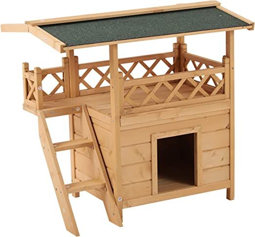 Amazon Com Pawhut 2 Story Indoor Outdoor Wood Cat House Shelter With Roof Pet Supplies