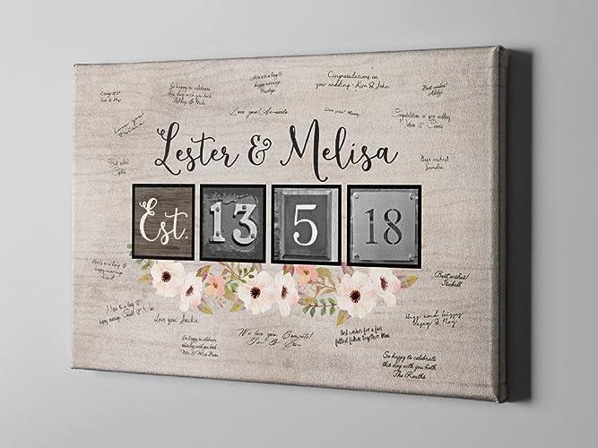 Amazon.com: SALE 50% Off Canvas Guest Book, Rustic Floral Wedding ...